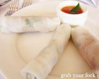 duck, mint and coriander rice paper rolls