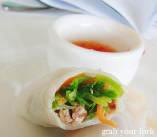 inside the duck, mint and coriander rice paper rolls