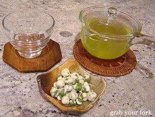 roasted peas with gyokuro tea