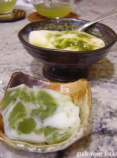 green tea jelly with green tea on tofu