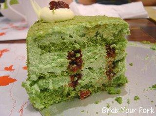 matcha cake slice
