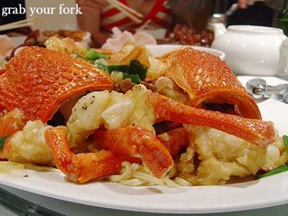 lobster with ginger and shallot in noodles