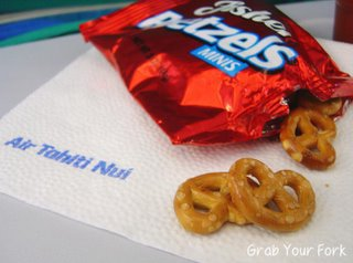 in-flight pretzel snacks