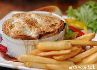 beef and Guinness pie with chips