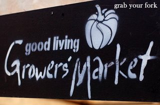 Good Living Growers' Markets chalkboard sign
