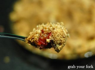 apple and rhubarb crumble spoonful