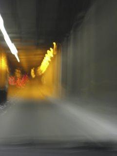 orange bridge tunnel lights