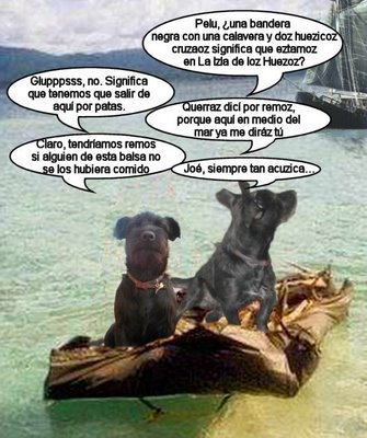 El Pelu y el Cano en una balsa en medio del mar, el cano mira para atrás y le dice al Cano: