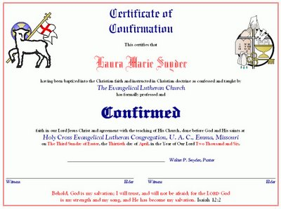 Laura's Confirmation Certificate