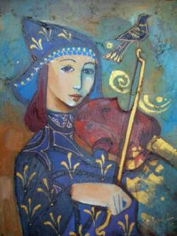 La violinista - obra del pintor cubano Carlos Guzmán