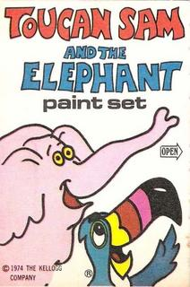 Toucan Sam and the Elephant paint set from Froot Loops cereal box, circa 1974