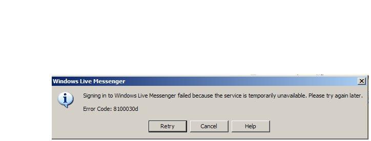 Windows Live Messenger Error Code 8100030d