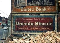 ghost signs for Uneeda Biscuit and United Bank
