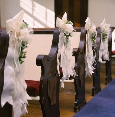 the making of our wedding pew bows for church decorations. Black Bedroom Furniture Sets. Home Design Ideas