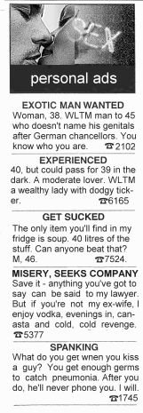 Personal ads these days can appear anything but personal