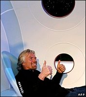 Sir Richard tested a passenger seat inside the mock-up