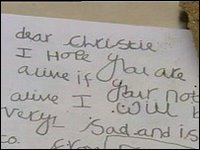 A note to Christianne from a young girl has been left at the scene