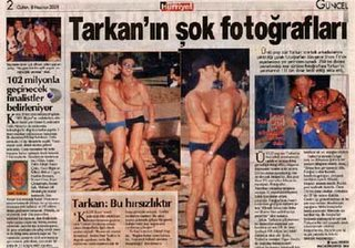 The cause of criminal theft and extortion, Tarkan's stolen photographs published in a Turkish newspaper.