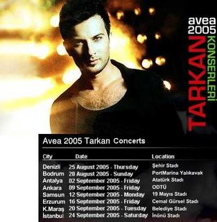 Tarkan Avea concert dates
