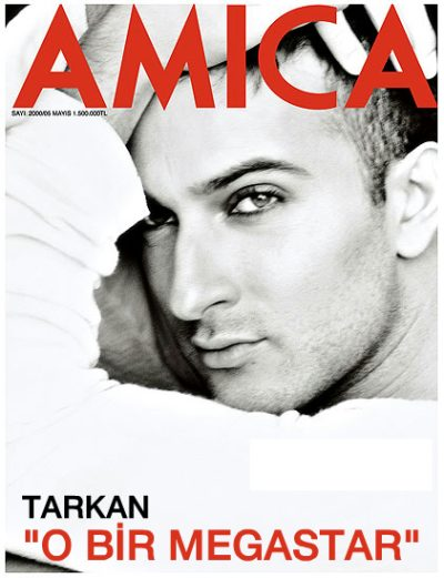 Tarkan on front cover of Amica magazine, by Nihat Odabaşı