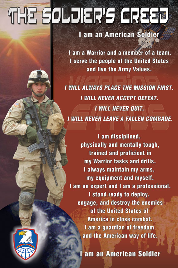 professional and soldiers creed What is the army about how is it organized  the soldier's creed i am an  american  i am an expert and i am a professional i stand ready to.