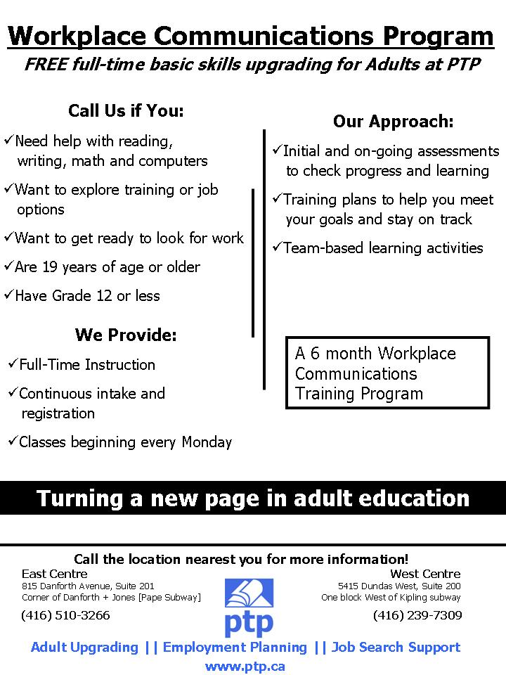toronto job developers ptp program flyers employment flyers org