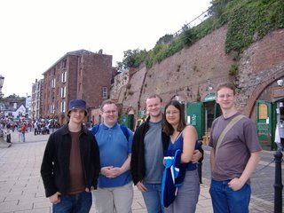 The Dobson boys and Emma at the Exeter's 'historic' quayside