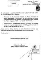 Documento municipal sobre la motivación para conceder el nombre de la Calle Francisca Delgado y los datos oficiales sobre la Calle Felisa Esteban.