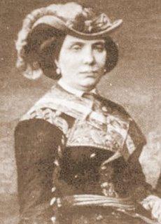 Detalle de un retrato ecuestre de Isabel II