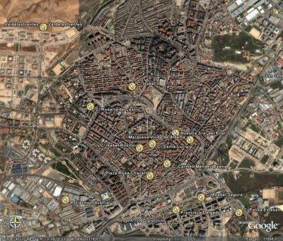 Plano general de Alcobendas marcado con las calles que tienen nombres de mujeres