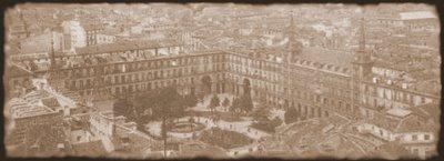 Aspecto de la Plaza Mayor de Madrid durante la infancia-juventud de María de Cubas y Erice.