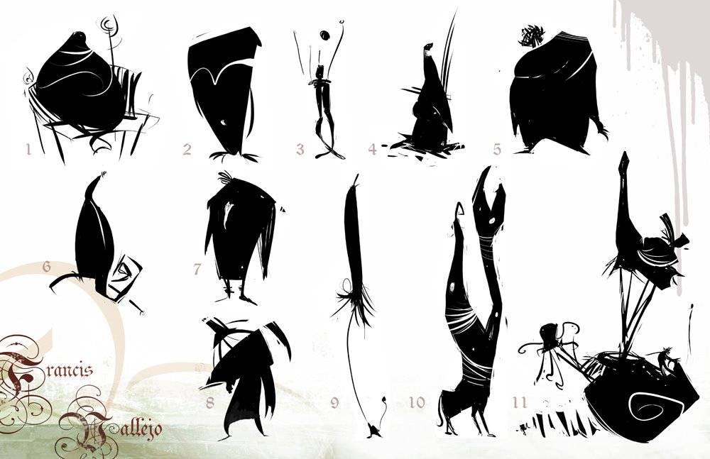 Character Design Silhouette : Francis vallejo character design silhouettes
