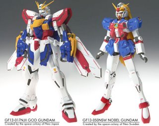 Front view of GFF God Gundam & Nobel Gundam