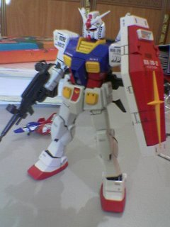 Gundam with beam rifle, shield and bazooka mounted on the rear skirt armor