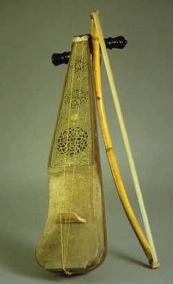 A Rabab. A one or two stringed violin, played by the Bedouins.