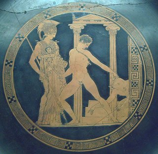 Kylix decorado con Teseo y el Minotauro, pintado por Aisón. Museo Arqueológico Nacional de España