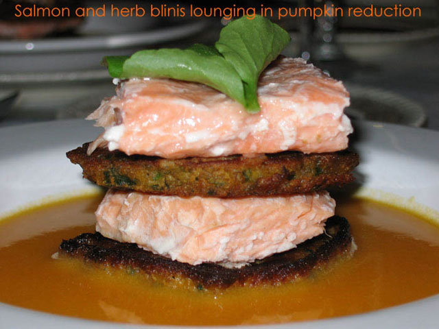 salmon herb blini pumpkin reduction barbara toivanen john coomber