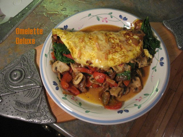 omelette deluxe spinach red bell peppers mushrooms onions cheese