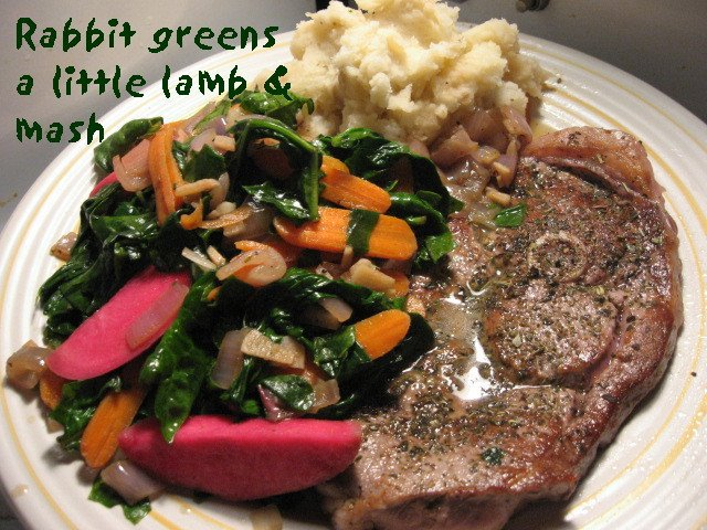 rabbit greens spinach carrots pickled turnip lamb chop mashed potatoes