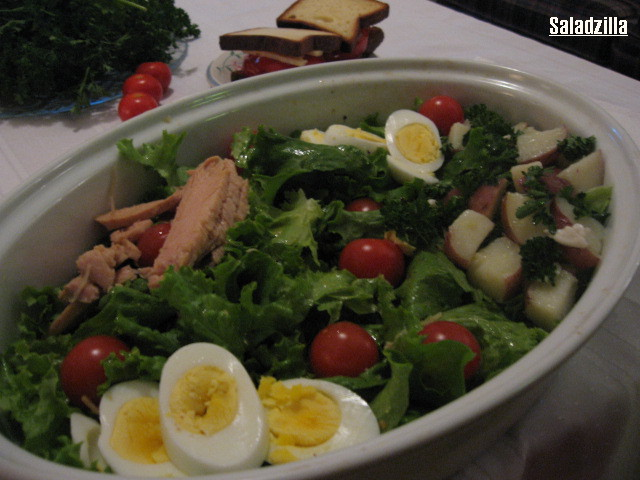 saladzilla salad hard-boiled eggs tuna cherry tomatoes cold potatoes