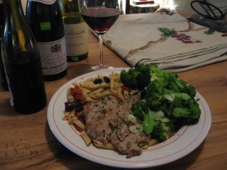 rhone red wine mediterranean dinner pairing veal escalope pasta olives broccoli