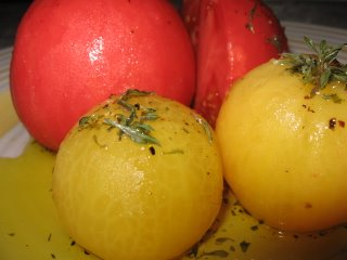 poached yellow red tomatoes oregano savoury olive oil