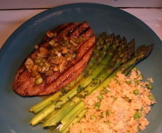 quebec lamb cutlets tarragon asparagus long grain rice with peas
