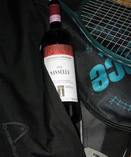 drinking wine playing tennis prince raquet italian red wine