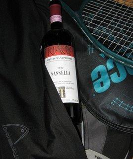 drinking wine playing tennis prince raquet italian red wine