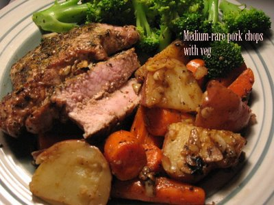 medium-rare pork chops with veg