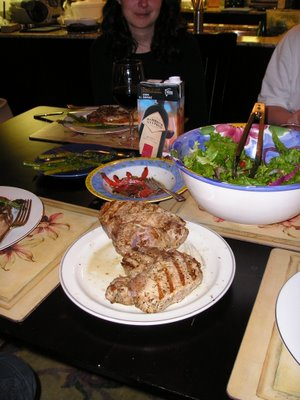 giant barbecued pork chops sauteed peppers asparagus salad