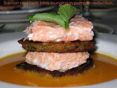 salmon herb blini pumpkin reduction