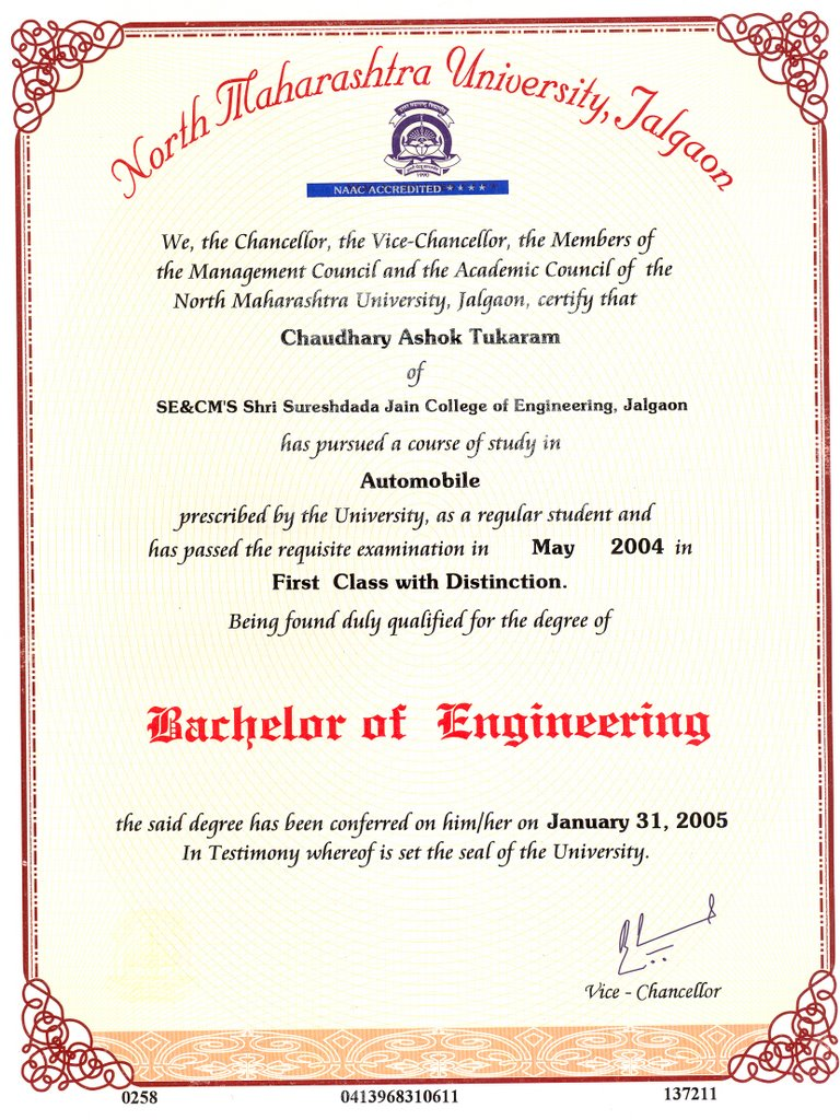chaudhari ashok i admitted directly for second year of bachelor in automobile engineering after completing my diploma and did my bachelors from s s j c o e jalgaon