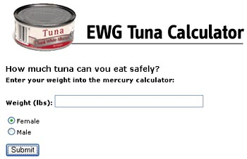 Environmental Working Group's Tuna Calculator